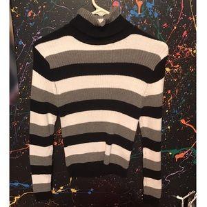 Black white and gray striped turtleneck